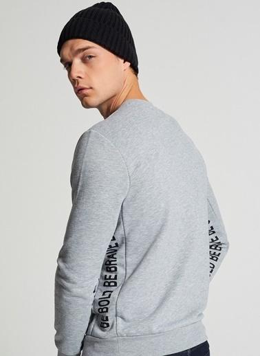 Pi π Baskı Detaylı Sweatshirt Gri